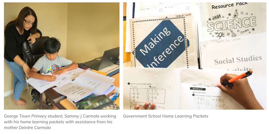Cayman Islands government schools are providing home packets for students